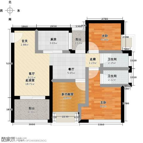 天诚国际2室0厅2卫1厨79.00㎡户型图