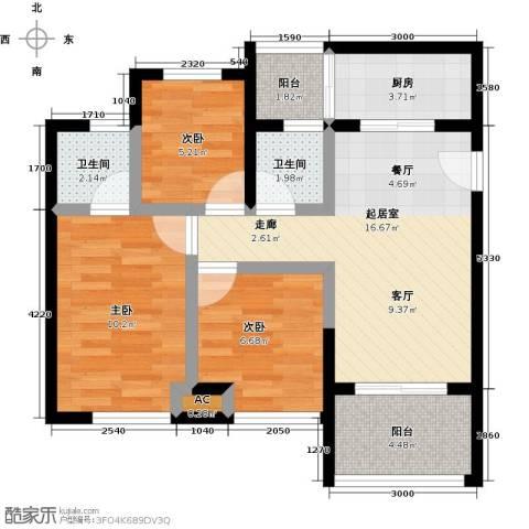 天诚国际3室0厅2卫1厨81.00㎡户型图