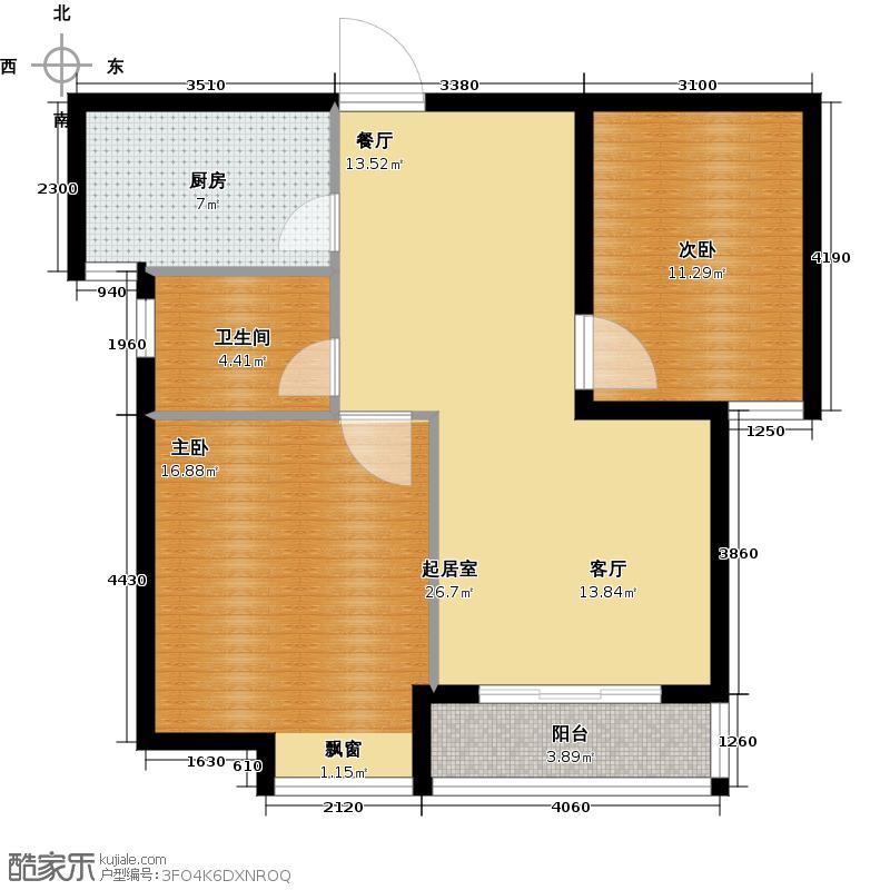 滨江明珠城79.44㎡二房二厅一卫-79.44平方米-88套户型