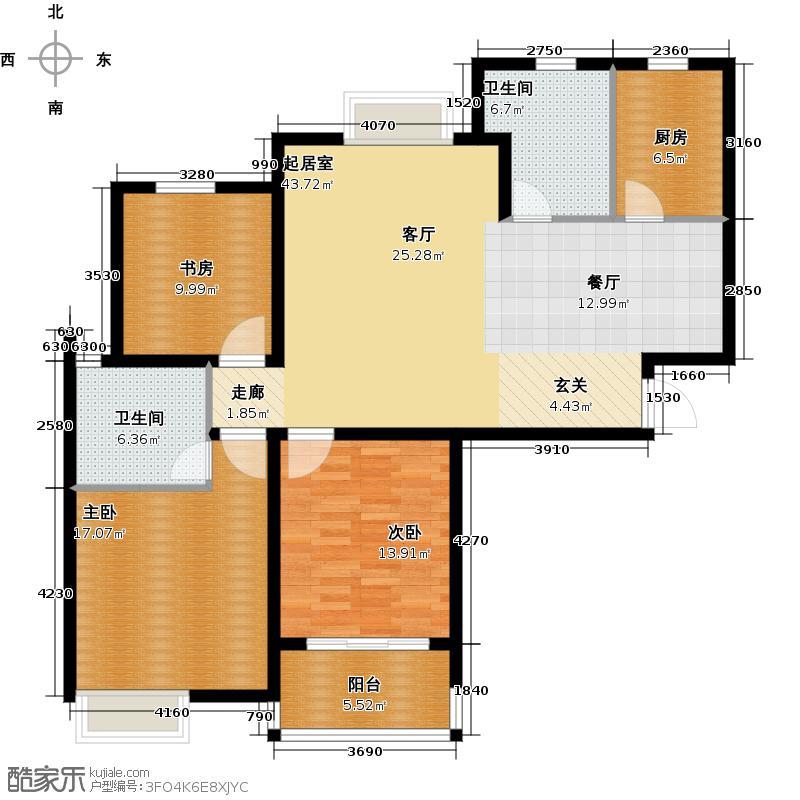 滨江明珠城三房二厅二卫:123平方米户型