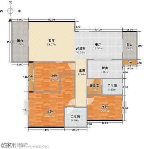 长房东郡(二期)3室0厅2卫1厨134.00㎡户型图