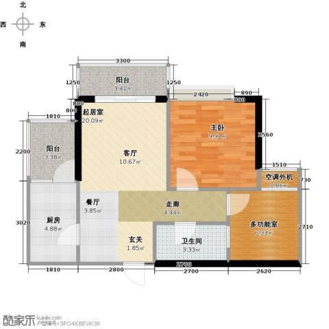 天景美梦城真1室0厅1卫1厨52.18㎡户型图