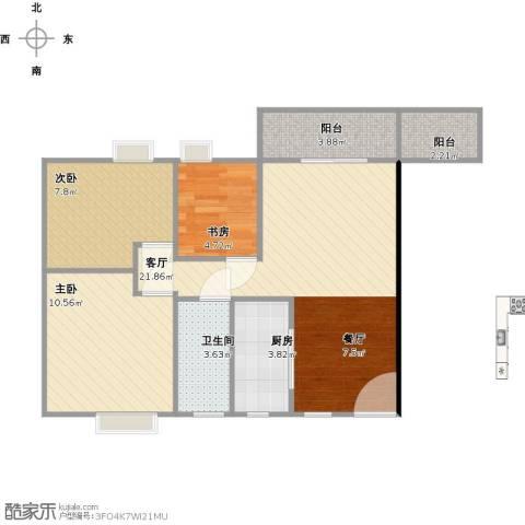 水岸华都3室1厅1卫1厨80.00㎡户型图
