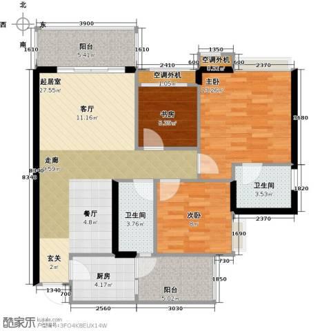 天景美梦城真3室0厅2卫1厨109.00㎡户型图