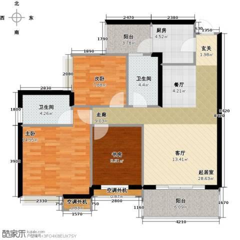 天景美梦城真3室0厅2卫1厨119.00㎡户型图