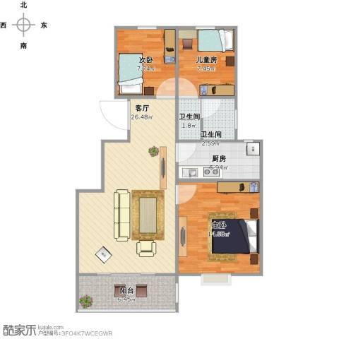 万豪绿城3室1厅2卫1厨99.00㎡户型图