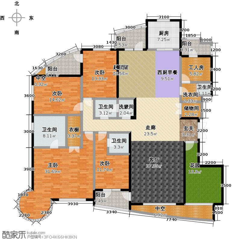 热岛黄金海岸J户型 五室二厅 272.38㎡户型