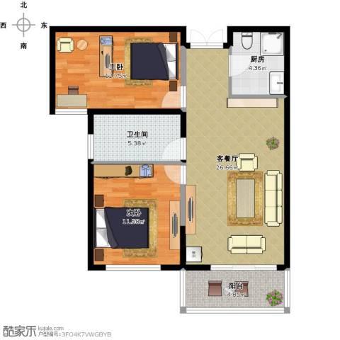 四季风景2室1厅1卫1厨89.00㎡户型图
