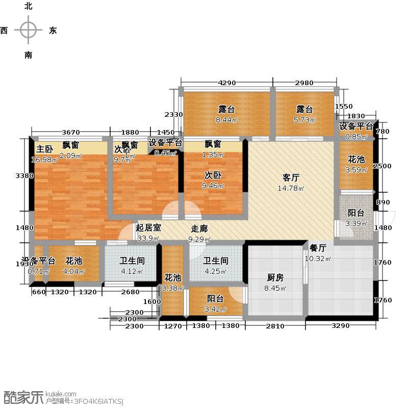 翡翠国际二期118.00㎡19-5三室两厅两卫户型