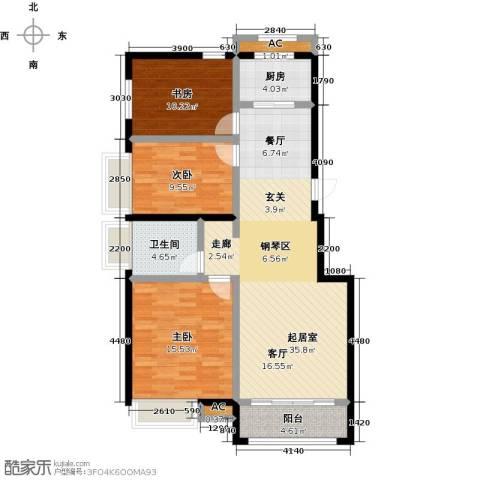 开元花半里3室0厅1卫1厨124.00㎡户型图
