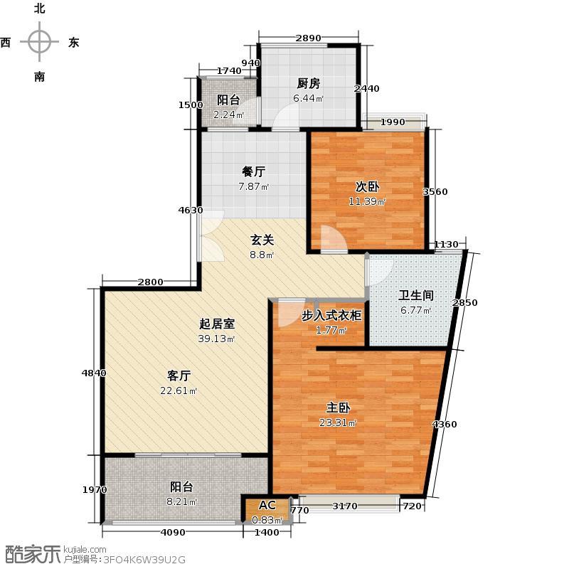 中星海上名邸两房两厅一卫/106.90平方米户型