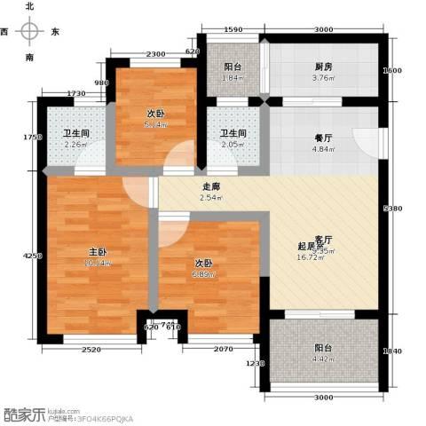 天诚国际3室0厅2卫1厨80.00㎡户型图