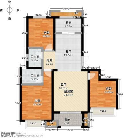 科达府左华苑3室0厅2卫1厨131.00㎡户型图