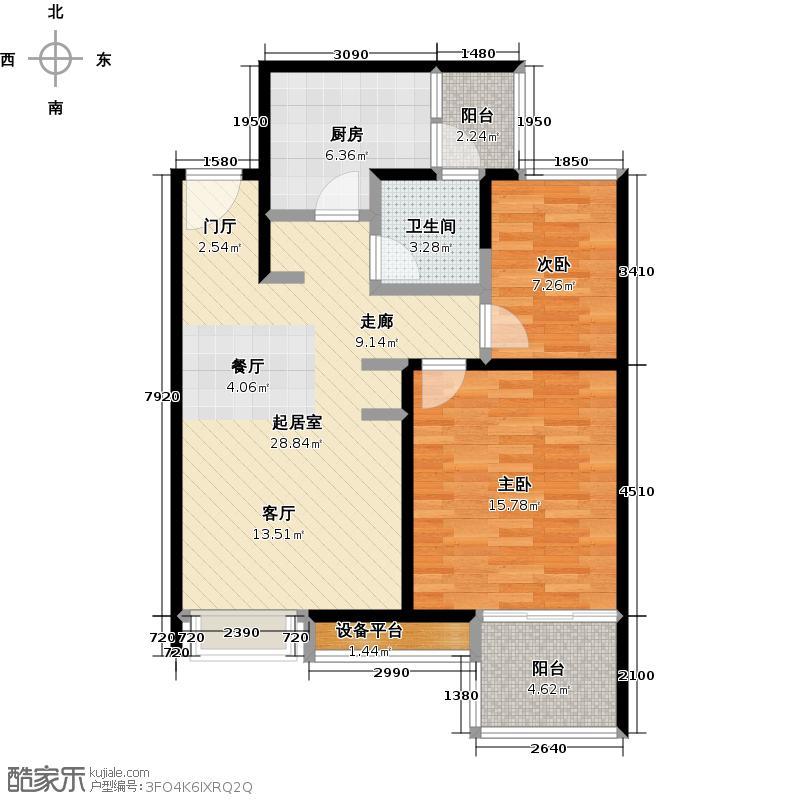 保利家园一期80.00㎡二房二厅一卫-84.32平方米-100套-嘉定房地(2009)预字0193号户型