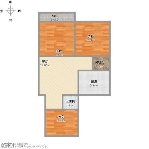燕东山庄3室1厅1卫1厨66.00㎡户型图