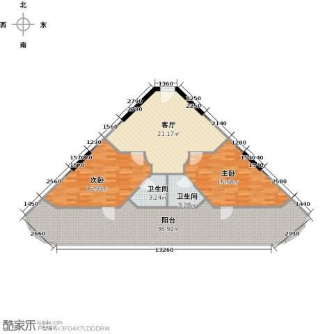 东能银滩2室1厅2卫0厨129.00㎡户型图