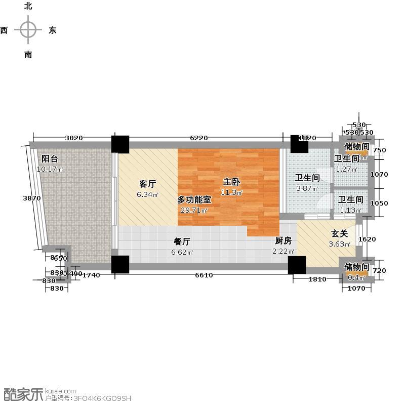 三亚海韵度假酒店65.05㎡一室一厅一卫户型