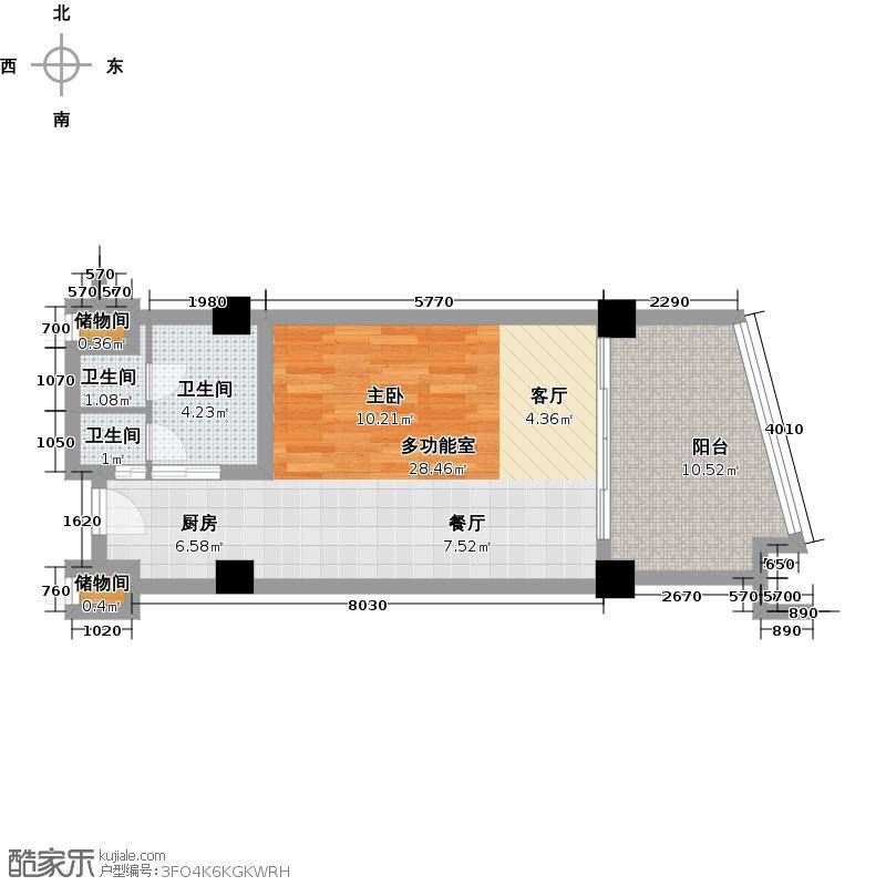 三亚海韵度假酒店60.69㎡一室零厅一卫户型