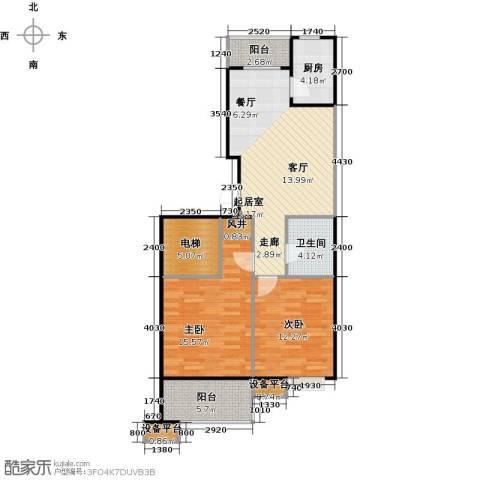 蔚海新天地2室0厅1卫1厨86.00㎡户型图