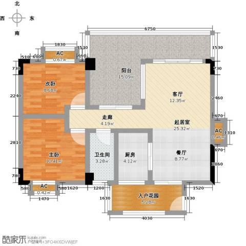 花季华庭2室0厅1卫1厨110.00㎡户型图