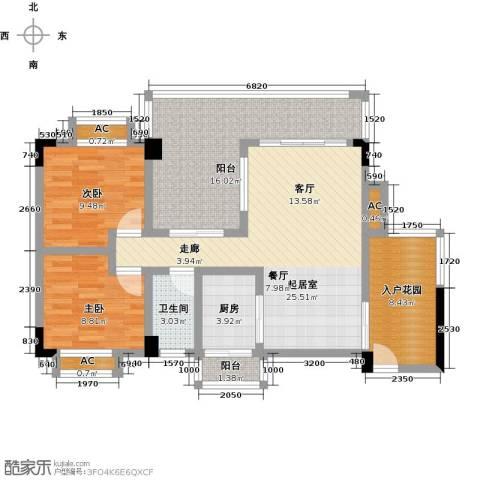 花季华庭2室0厅1卫1厨117.00㎡户型图