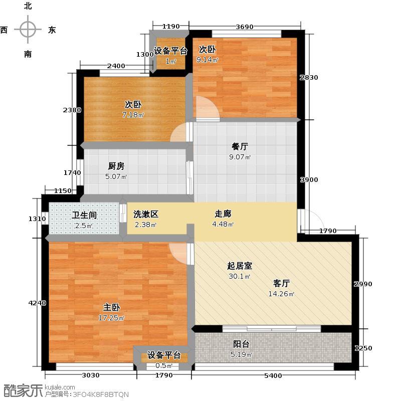 御景湾89.00㎡三房二厅一卫-89平方米-12套。户型