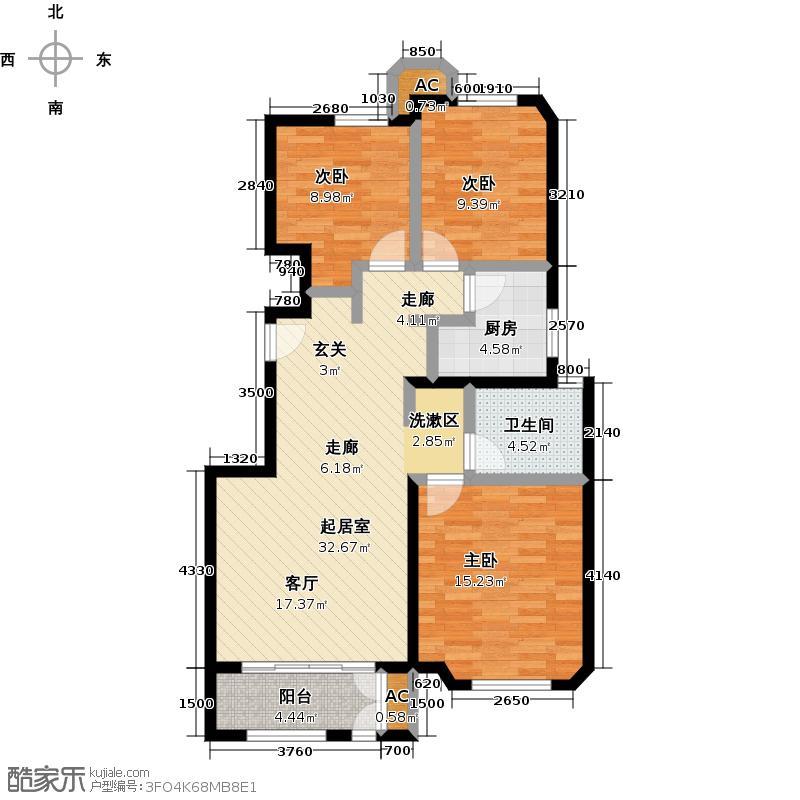 金地艺境115.00㎡B-1户型3室2厅1卫