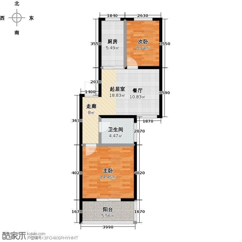美丽新苑65.44㎡二房一厅一卫B套型户型