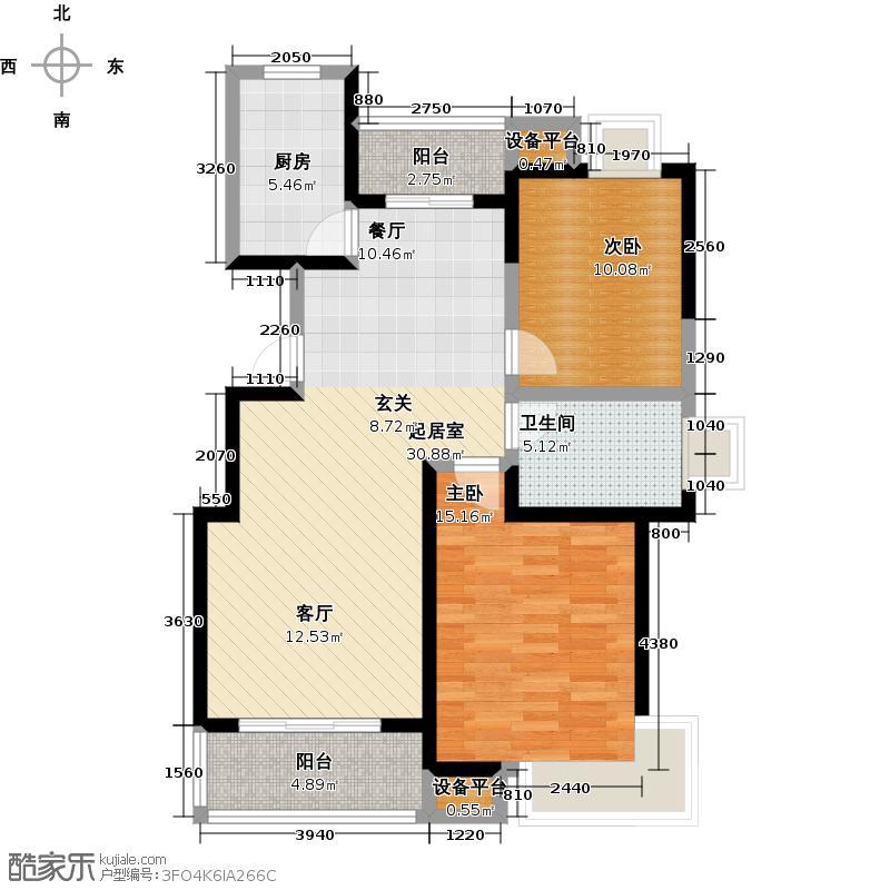 丽晶城户型2室1卫1厨