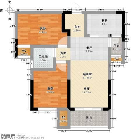 龙湖湘风星城2室0厅1卫1厨77.00㎡户型图