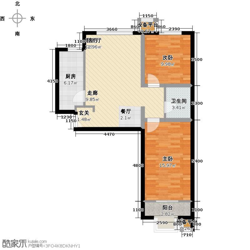 金隅・七零九零88.00㎡A'户型两室两厅一卫户型