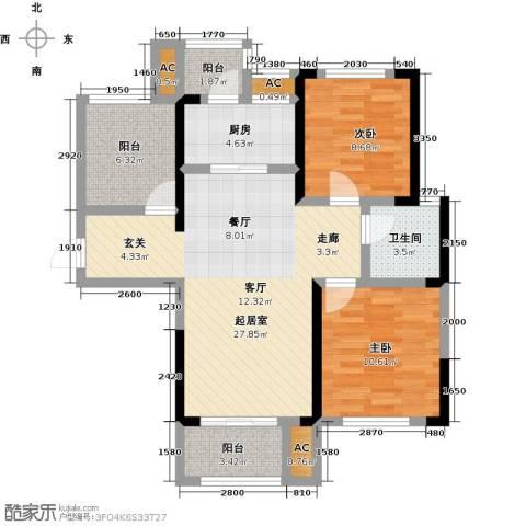 龙湖湘风星城2室0厅1卫1厨92.00㎡户型图
