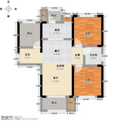 龙湖湘风星城2室0厅1卫1厨95.00㎡户型图