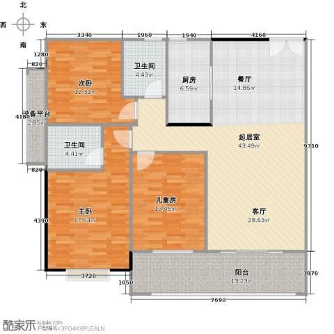 振兴香樟雅苑3室0厅2卫1厨129.00㎡户型图