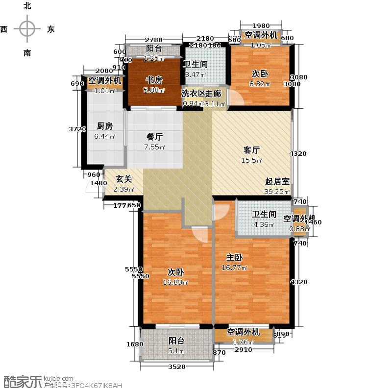 银河湾明苑125.44㎡四房二厅二卫-126平方米-65套。户型