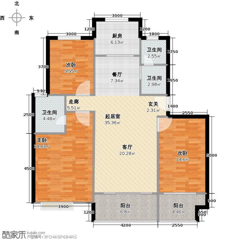 龙凤嘉园II98.00㎡三室两厅两卫125m2户型