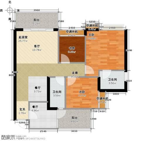 天景美梦城真3室1厅2卫0厨107.00㎡户型图