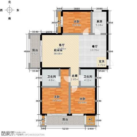 开元花半里3室0厅2卫1厨151.00㎡户型图