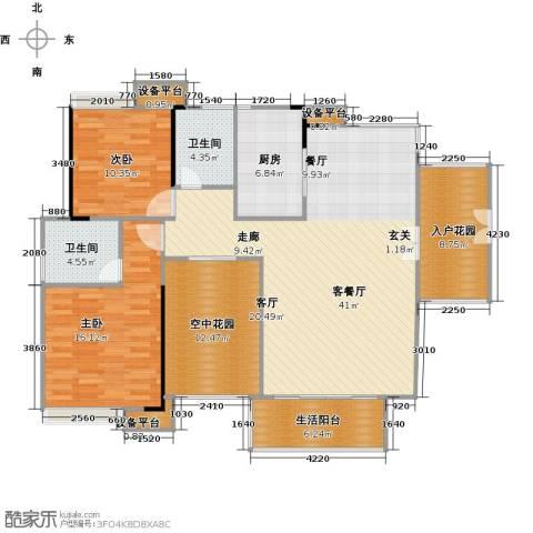 金地亚2室1厅2卫1厨123.00㎡户型图