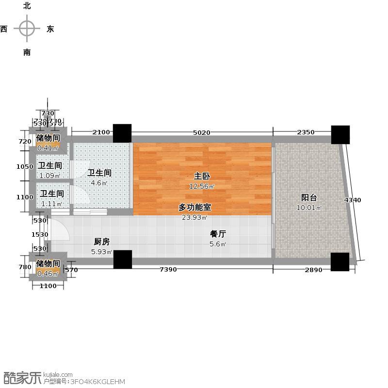 三亚海韵度假酒店57.83㎡一室一卫户型