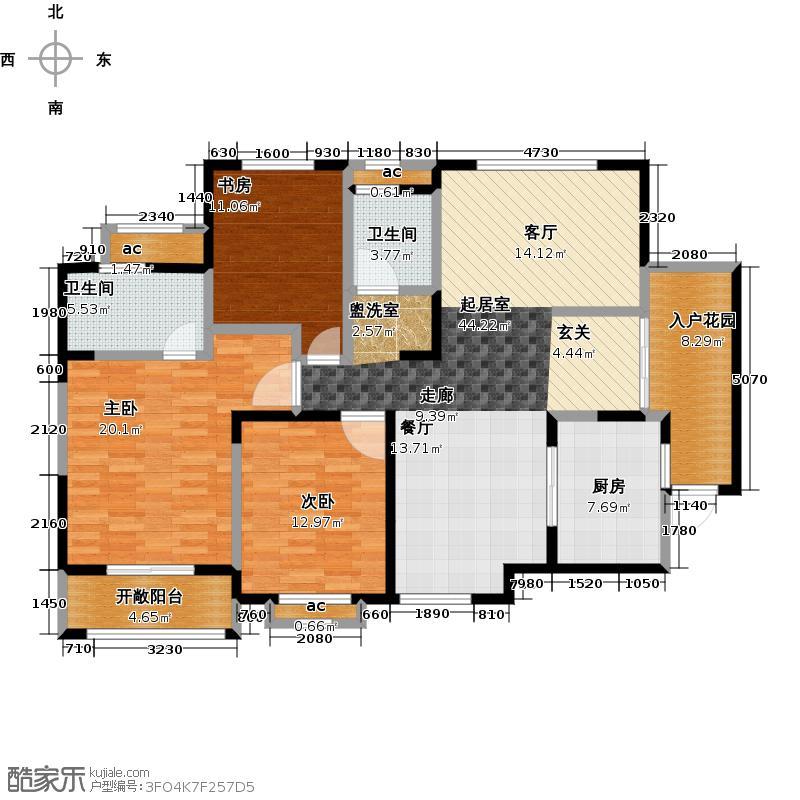 德润黄金海岸135.67㎡3C户型3室2厅2卫