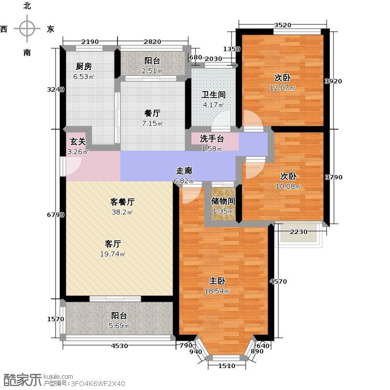 绿地崴廉宫爵18号楼、三房二厅一卫,约116平方米户型