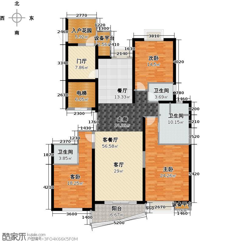 南昌铜锣湾广场180.45㎡2号楼B户型3室2厅3卫