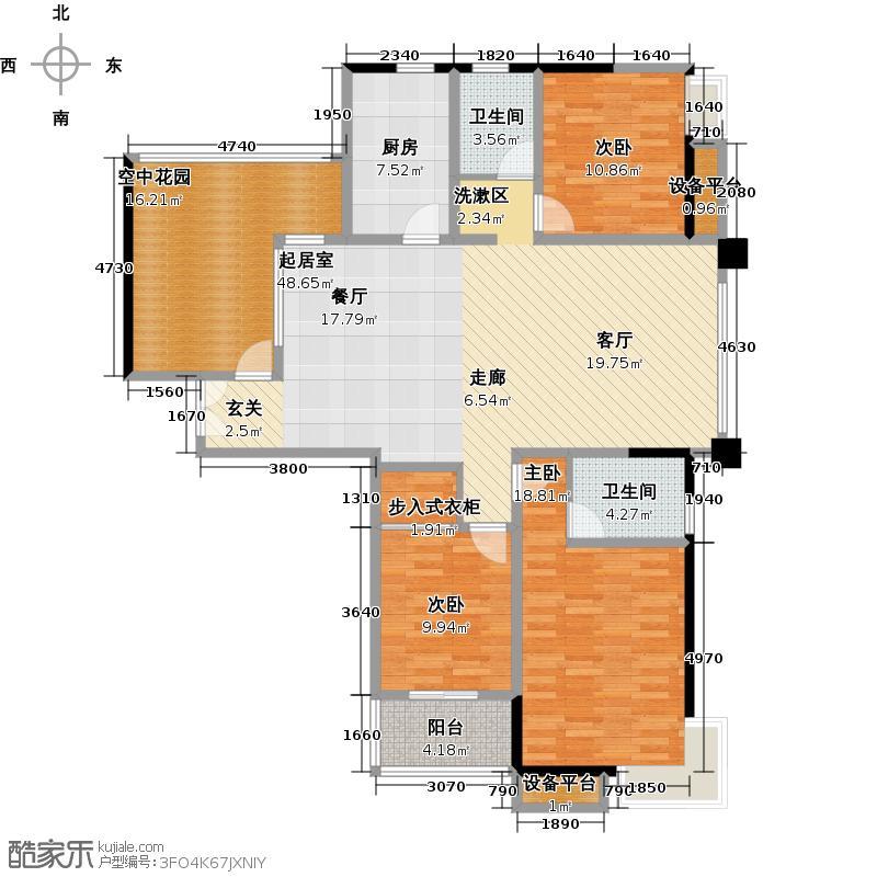 国泰名都三房两厅两卫户型