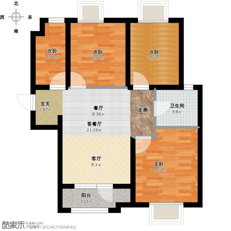 4阿尔卡迪亚阳光苑1#楼B户型三室两厅一卫约100.17平米