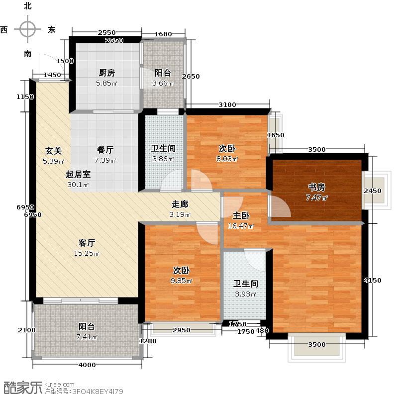恒大城一期101.00㎡四房二厅二卫-套内面积101平方米-32套户型