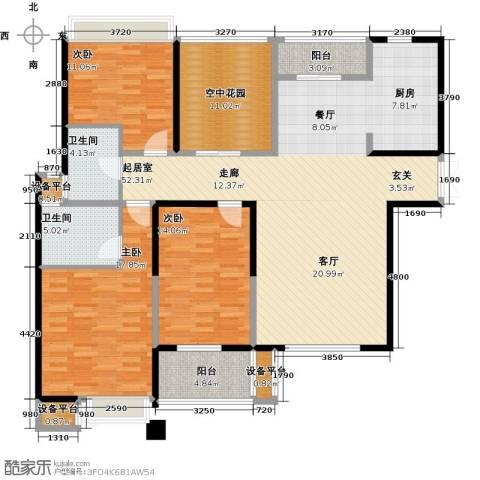 国泰名都3室0厅2卫0厨140.85㎡户型图