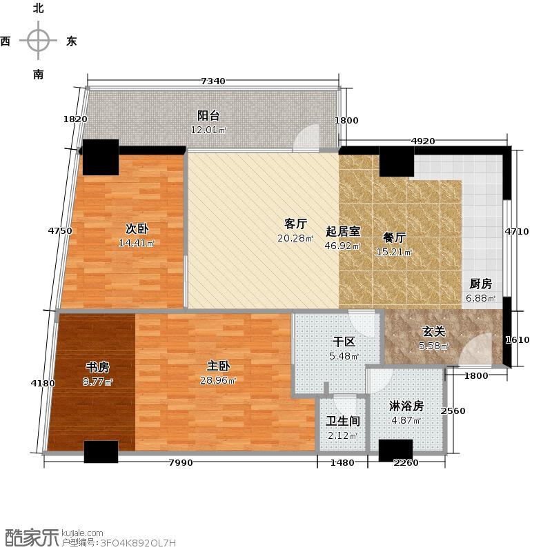 海岸壹号四期130.93㎡B2户型两室两厅户型