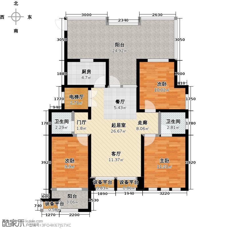泰盈八千里122.00㎡F\'户型顶层三房两厅两卫122户型3室2厅2卫