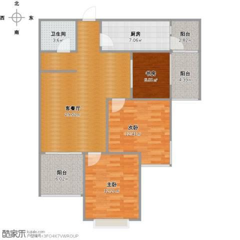 青枫墅园3室1厅1卫1厨113.00㎡户型图